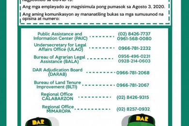 Pansamantala po kayong paglilingkuran ng sumusunod naming mga tanggapan gamit ang nakalistang mga landline at cellphone numbers.