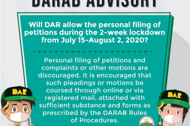 On the temporary suspension of the DAR Adjudication Board (DARAB) Secretariat operation.