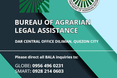 Here are the phone numbers and official email account of the Bureau of Agrarian Legal Assistance (BALA) for your agrarian-related legal concerns.
