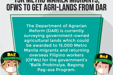 The DAR will also coordinate and facilitate the provision of credit and microfinance for production, processing, and agri-enterprises for the 15,000 enrollees.