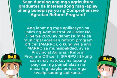 Ang DAR ay magkakaloob ng mga lupang agrikultural sa mga kwalipikadong nagtapos ng apat-na-taong kurso sa agrikultura o may kaugnay na kurso sa nasabing larangan.