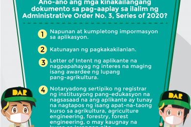 DAR tumukoy ng 230,000 ektaryang lupain ng pamahalaan upang maipamahagi para sa mga nagtapos ng agrikultura.