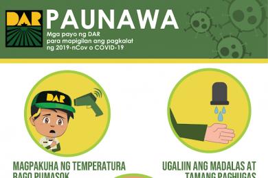 Mga payo ng DAR para mapigilan ang pagkalat ng 2019-nCov o COVID-19.