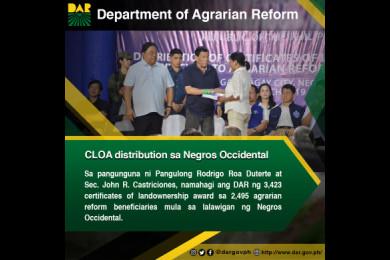1,609 ektarya ng lupang pansakahan ang ipinamahagi ng Department of Agrarian Reform sa Lalawigan ng Negros Occidental.