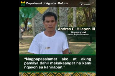 Malaking pasasalamat ni Mang Andres sa mga programa ng DAR dahil nakatulong ito sa pag-unlad ng kanilang buhay.