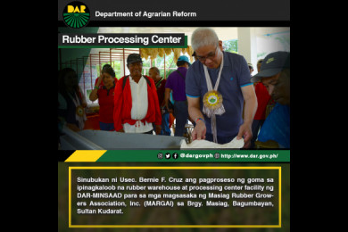 Mapalad ang mga miyembro ng Masiag Rubber Growers Association, Inc. o MARGAI sa ipinagkaloob na mga pasilidad mula sa proyektong Department of Agrarian Reform-Mindanao Sustainable Agriculture and Agrarian Development o DAR-MinSAAD.