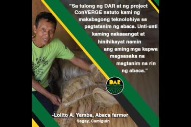 Mapalad si Mang Lolito sapagkat isa siya sa mga nakikinabang ngayon sa Project ConVERGE ng DAR na layong maturuan ang mga magsasaka ng makabagong teknolohiya sa pagsasaka.