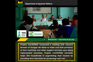 Project ConVERGE in Caraga has provided trainings on production technology, processing, marketing, and entrepreneurship to 8,542 small holder farmers, half of which are agrarian reform beneficiaries.