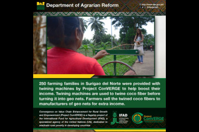 The Department of Agrarian Reform, in partnership with the International Fund for Agricultural Development, has established market linkages to farmers and provided them farm machineries, seedlings and fertilizers through the years.