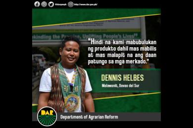 Isa lamang si Mang Dennis sa mapalad na makikinabang sa Tulay ng Malawanit mula sa proyektong Department of Agrarian Reform-Mindanao Sustainable Agriculture and Agrarian Development o DAR-MinSAAD.