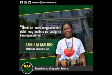 Tiyak na ni Aling Amelita ang maayos na kalusugan dahil sa proyektong rural water system na inilaan ng Department of Agrarian Reform-Mindanao Sustainable Agriculture and Agrarian Development o DAR-MinSAAD sa kanilang lugar.