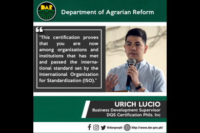 Speaking at the conferment of DAR Central Office's International Organization for Standardization (ISO) 9001:2015 certification. #AgrarianReformPH