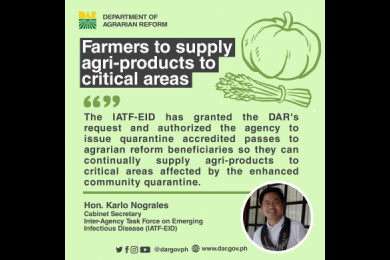 The request was initiated by DAR Secretary John Castriciones, upon seeing the need to ensure the delivery of food and other agricultural commodities to markets, especially those located in critical areas where people cannot buy food because of the ECQ.