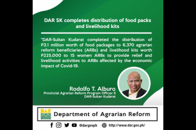DAR-Sultan Kudarat started distributing relief packs May 19, 2020 and was able to finish at the end of the month covering its eleven (11) municipalities.