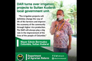 Mayor Edwin Bermudez expressed his utmost thanks to DAR and the National Irrigation Administration (NIA), for the irrigation projects and vowed to take care and maintain the projects which would benefit many generations to come.