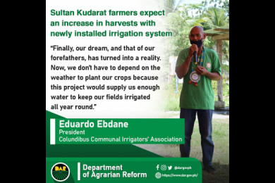 During the Department of Agrarian Reform's (DAR) turn-over of P66.7-million worth of irrigation projects in the province of Sultan Kudarat.