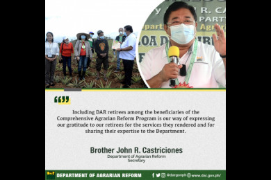 Earlier, the DAR chief also made a similar encouraging announcement when he declared that fresh graduates of any agricultural courses are eligible to avail themselves of at least three hectares of farmlots to serve as farm laboratories.