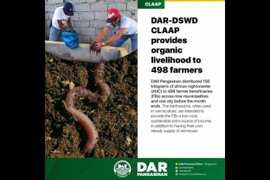 DAR-DSWD CLAAP Provides Organic Livelihood To 498 Farmers In Pangasinan