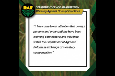 Warning against corrupt practices.